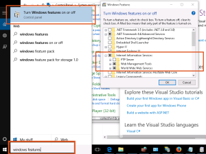 W10_IIS enable Windows Features