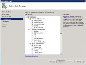 role services per IIS web server