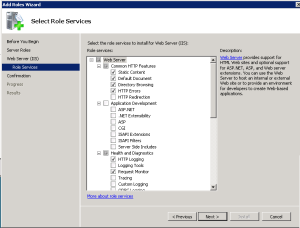 role services per IIS web server