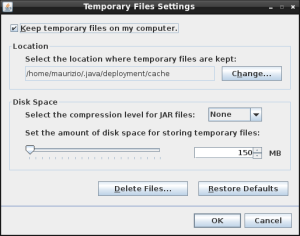 java control panel temporary files