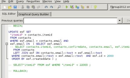 Query tool pgadmin3