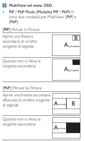 multiview modalità PiP e PbP