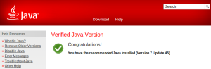 Oracle java jre 7u45 verified