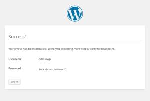 wordpress configurazione iniziale success